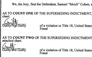 """Samuel """"Mouli"""" Cohen Found Guilty"""