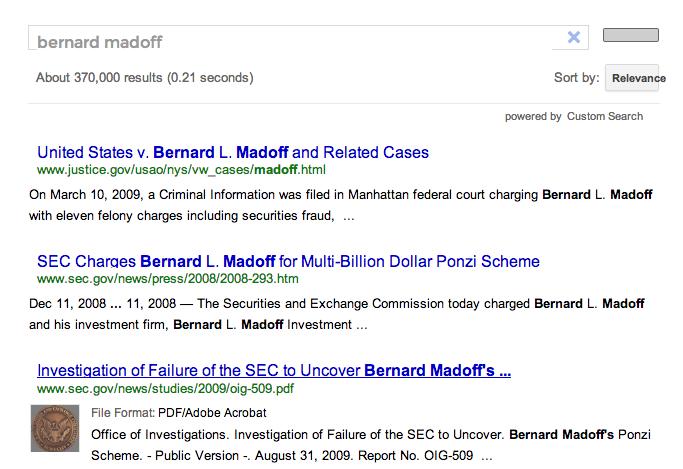 Custom Google Search Engine for U.S. Government Regulatory Agencies