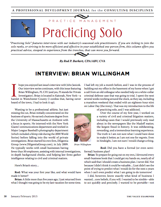 Brian Wilingham - Going Solo - Value Examiner